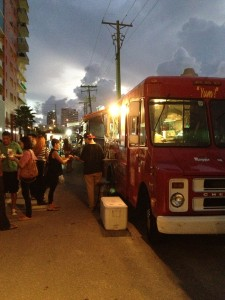 Night photo of food trucks